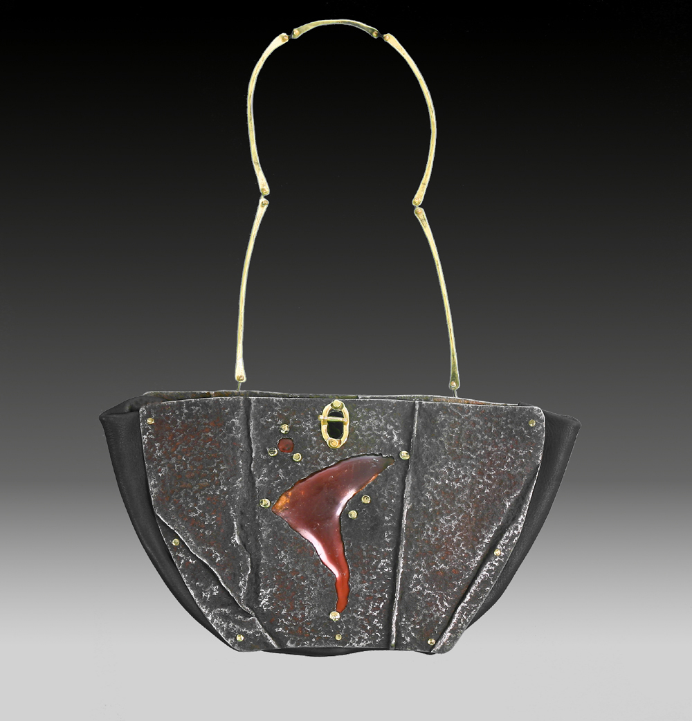 Handbag, art handbag, purse, metal purse, silver purse, copper purse, copper vessel, fashion bag, art bag, contemporary fashion, modern fashion, modern art, contemporary art