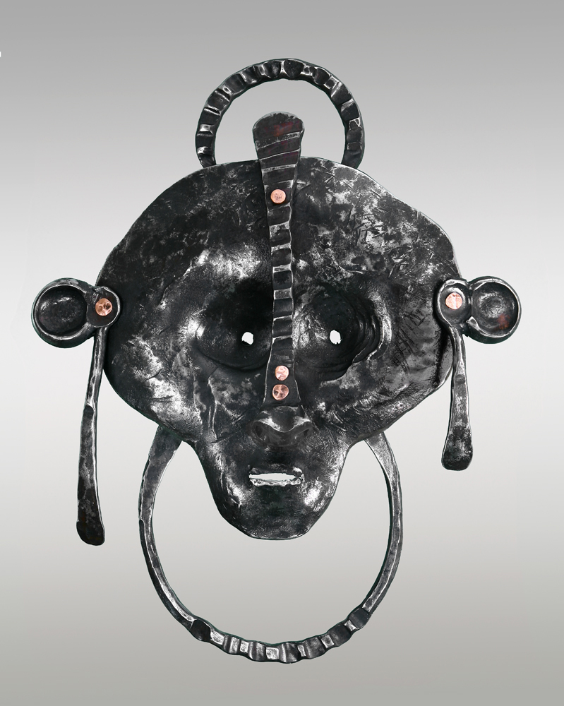 art mask, tribal mask, metal mask, steel mask, copper mask, contemporary mask, contemporary metalwork, blacksmith, african art, african tribal mask, contemporary african art mask, african blacksmith, fine art mask, steel sculpture, forged mask